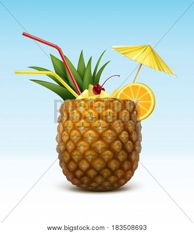 Vector pineapple cocktail garnished with maraschino cherry, orange slice, red straw tubes and yellow umbrella isolated on background