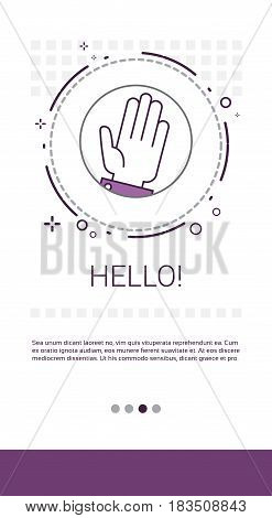 Hello Hand Gesture Greeting Banner Vector Illustration