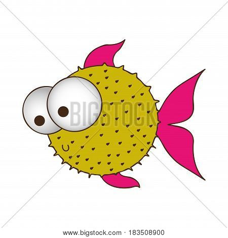 silhouette color of blowfish with big eyes vector illustration