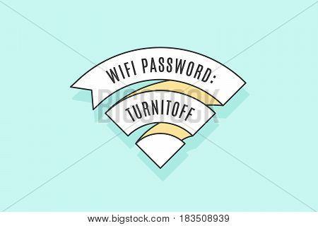 Vintage ribbon WiFi sign for free wi-fi in cafe or restaurant, menu and design. Icon Wi-Fi in line style on colorful blue background. Design element for internet theme. Vector Illustration