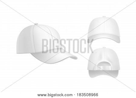 Vector realistic white baseball cap front, back and side view isolated on background