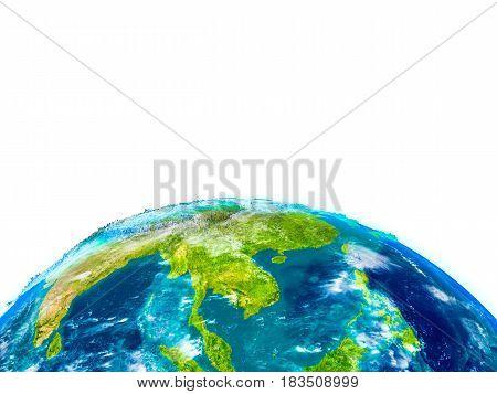 Indochina On Physical Globe
