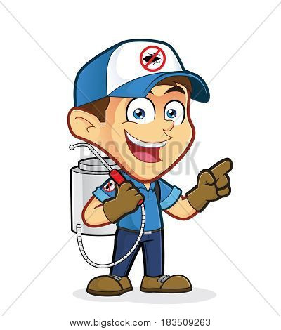 Clipart picture of an exterminator or pest control cartoon character presenting something