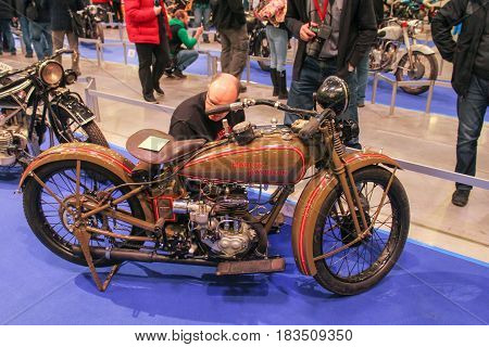 St. Petersburg Russia - 15 April, One of the first Harley-Davidson,15 April, 2017. International Motor Show IMIS-2017 in Expoforurum. Motorcycles and motoconcepts presented at St. Petersburg Motor Show.
