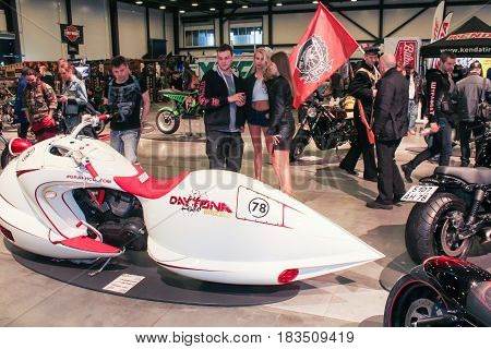 St. Petersburg Russia - 15 April, Exclusive model at the moto salon,15 April, 2017. International Motor Show IMIS-2017 in Expoforurum. Visitors and participants of the annual moto-salon in St. Petersburg.