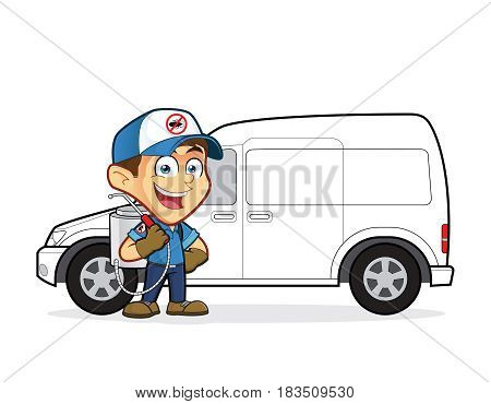 Clipart picture of an exterminator or pest control cartoon character standing in front van
