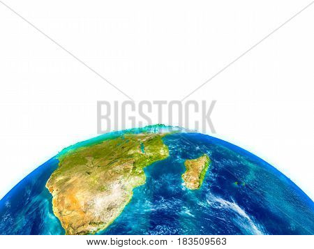 South Africa On Physical Globe