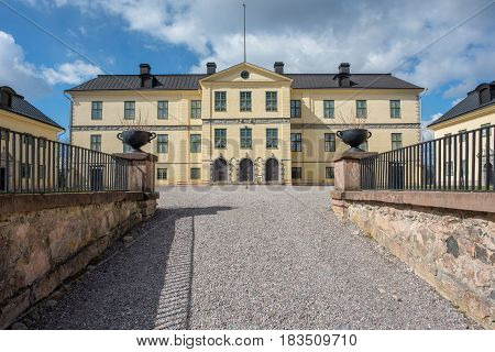 NORRKOPING, SWEDEN - APRIL 23, 2017: Lofstad caste outside Norrkoping. The castle built in the 17th century has hosted Axel von Fersen, famous for his relationship with Marie Antoinette.