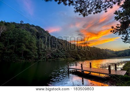 Twilight Landscape Lake Dock