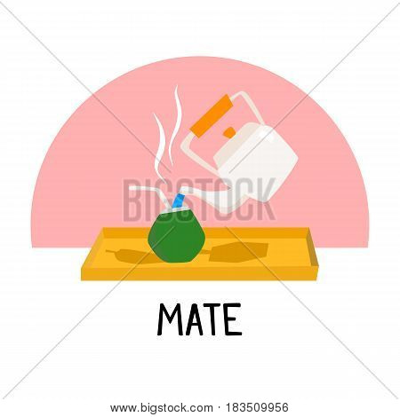Traditional mate drink from Latin America cartoon illustration vector in bright colors EPS10