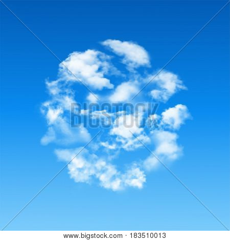 Vector round shape made of white realistic clouds on blue sky background.