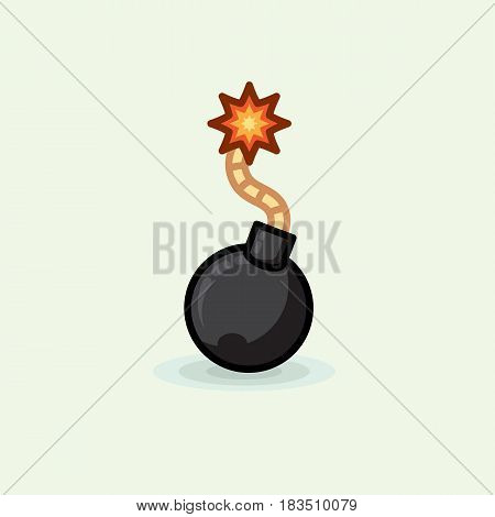 Vector icon in style line work isolated bomb fuse a fire on a light background.