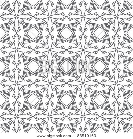 Linear geometrical mosaic pattern. Seamless texture suitable for decoration and printing of packages, paperhangings, gift wrapping or just for decoration. Vector illustration