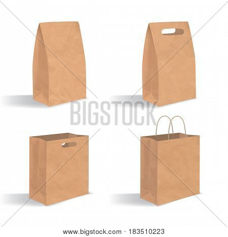 Collection of empty brown paper bag with handles. Realistic kraft package with shadows isolated on white background. Set of design templates