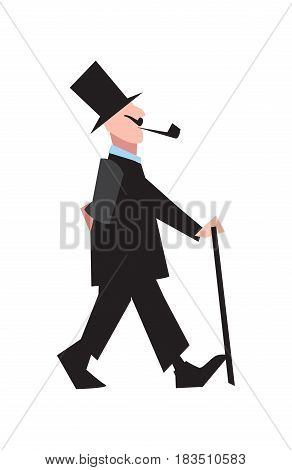 Elegant victorian gentleman in tuxedo and cylinder vector illustration isolated on white background. People character in flat design.