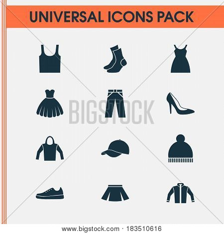Clothes Icons Set. Collection Of Trilby, Singlet, Stylish Apparel And Other Elements. Also Includes Symbols Such As Garment, Woman, Gumshoes.