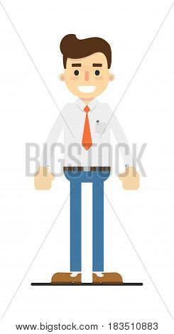 Smiling retail consultant character isolated on white background vector illustration. People personage in flat design.