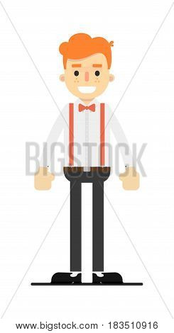 Happy redheaded man character isolated on white background vector illustration. People personage in flat design.