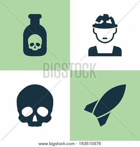 Warfare Icons Set. Collection Of Danger, Military, Missile And Other Elements. Also Includes Symbols Such As Skull, Rocket, Bomb.