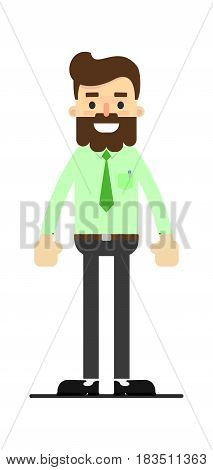 Young successful bearded businessman isolated on white background vector illustration. People personage in flat design.