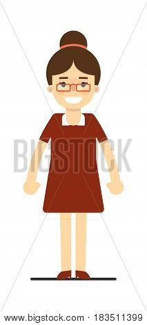 Young elegant woman in brown dress isolated on white background vector illustration. People personage in flat design.