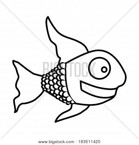 monochrome silhouette of fish with long fins vector illustration