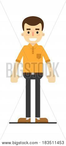 Smiling young guy in shirt and pants isolated on white background vector illustration. People personage in flat design.