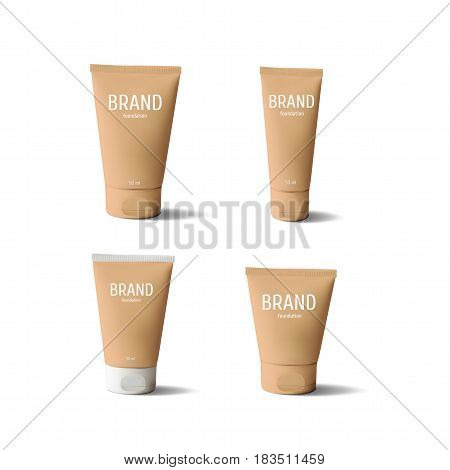 Package design cosmetic products. Foundation realistic tube template set. Vector illustration.