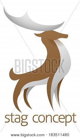 Conceptual design of a stylised proud stag or deer with large antlers