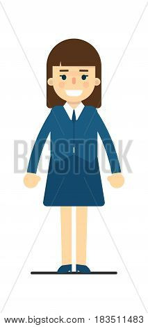 Young elegant woman in blue suit isolated on white background vector illustration. People personage in flat design.