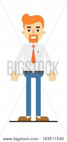 Happy redheaded bearded clerk character isolated on white background vector illustration. People personage in flat design.