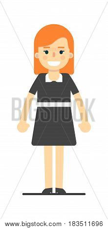 Beautiful redhead girl in black dress isolated on white background vector illustration. People personage in flat design.