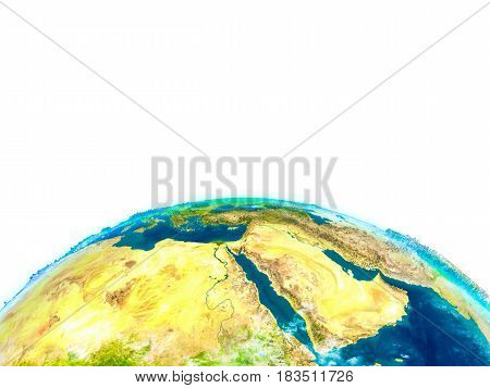 Middle East On Physical Globe