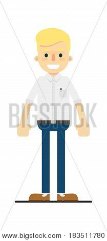 Smiling manager character isolated on white background vector illustration. People personage in flat design.