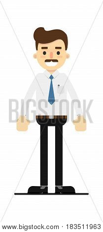 Smiling lawyer character isolated on white background vector illustration. People personage in flat design.