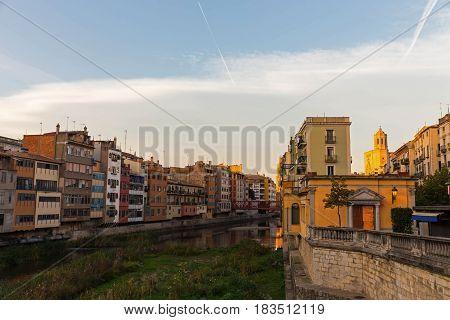 Girona City. Bridge Over River Onyar. Spain