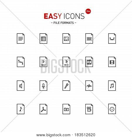 Vector thin line flat design icons set for office and media file formats