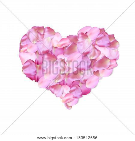 Heart shape of pink petals white, vector frame. Valentine' s day template, wedding invitation or greeting card. Love background