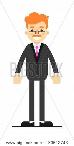 Happy redheaded businessman in suit character isolated on white background vector illustration. People personage in flat design.