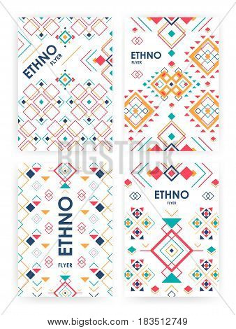 Set of background with geometric ethnic ornament. ethno abstract templates with place for text