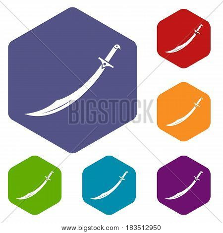 Scimitar sword icons set hexagon isolated vector illustration