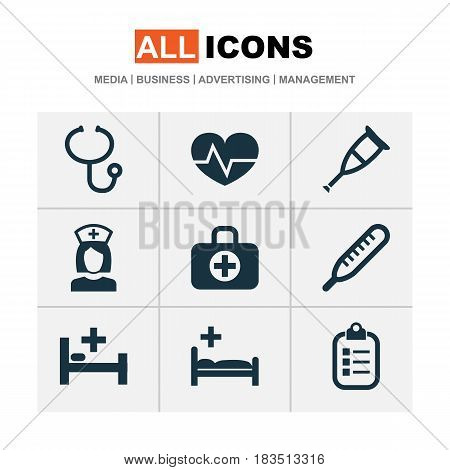 Antibiotic Icons Set. Collection Of Surgical Bag, Spike, Mark And Other Elements. Also Includes Symbols Such As Thermometer, Nurse, Aid.