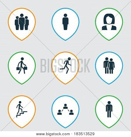 Person Icons Set. Collection Of Group, Member, Ladder And Other Elements. Also Includes Symbols Such As Relation, Social, Running.
