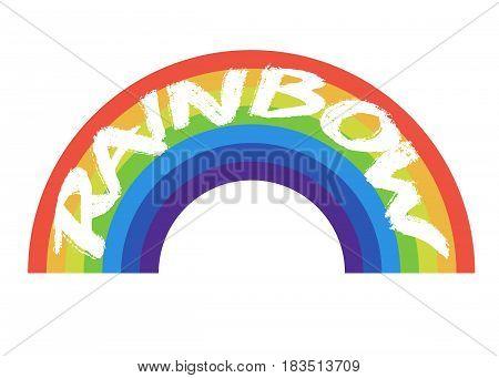 Rainbow icon flat isolated on white background. Vector illustration. Eps 10.