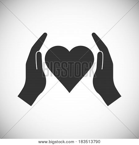 hands holding heart isolated on white background. Vector illustration. Eps 10.