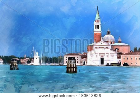 Colorful painting of Church of San Giorgio Maggiore, Venice, Veneto, Itlaly