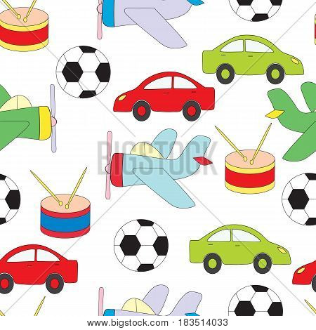 Seamless pattern with children's toys for boys. Vektoranya a picture on a white background with the machine, plane, a ball and a drum.