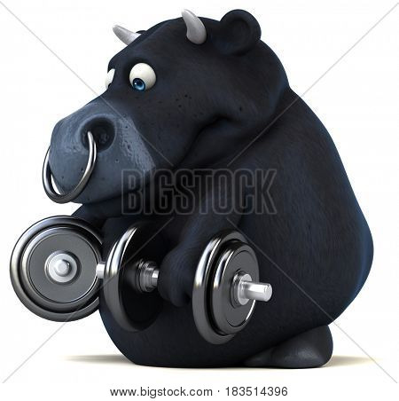 Fun black bull - 3D Illustration