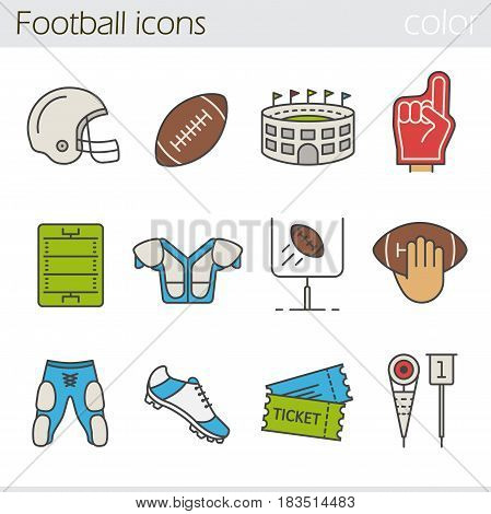 American football color icons set. Helmet, shoulder pad, ball, shorts, hand holding ball, goal sign, foam finger, game tickets, arena. Isolated vector illustrations