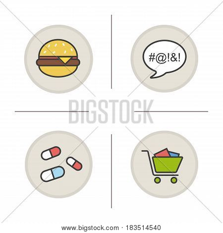 Addictions color icons set. Obesity, dirty language, pills and oniomania shopping. Fast food, drugs, shopping cart and swearing. Isolated vector illustrations